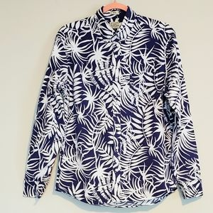 MENS J CREW STRETCH PALM TREE PRINT SHIRT SZ M